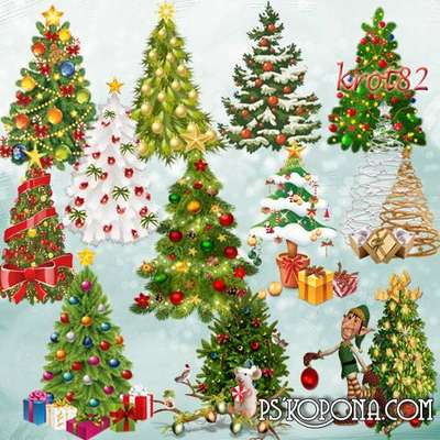 Free Christmas trees png images on a transparent background free download