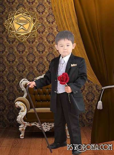 Children template - A little gentleman with a rose