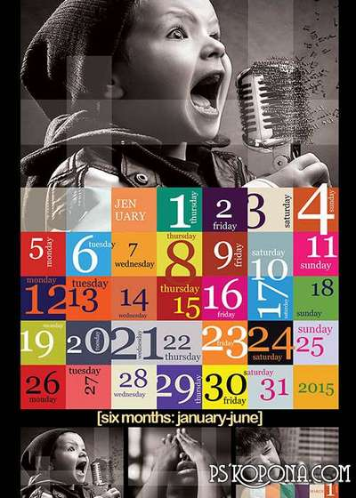 PSD - Calendar Template 2015 - Creative Grid