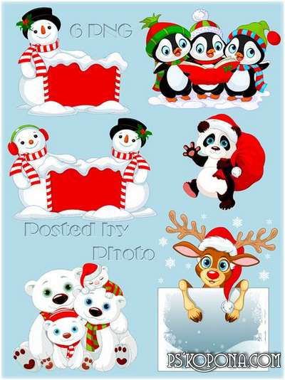 Free Christmas funny animals png images bears, deer, penguins png clipart on a transparent background -