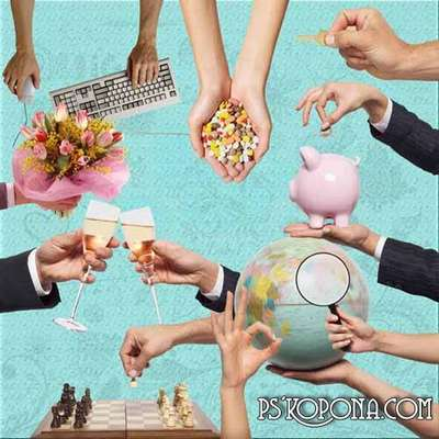 Hands png clipart - different types of activities (transparent background)