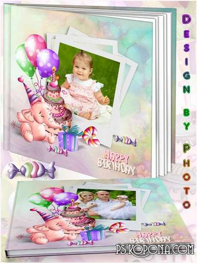 Baby holiday photo book template psd - Happy birthday