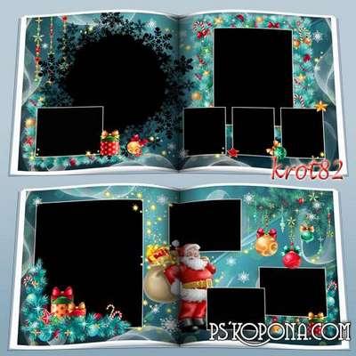 Template Christmas photobook psd with frame for photo - Christmas tree lights lights