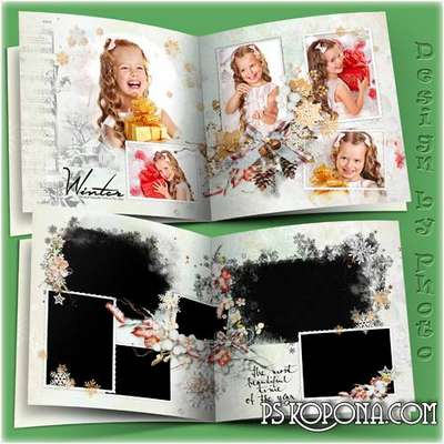 Family photo book template psd - White winter