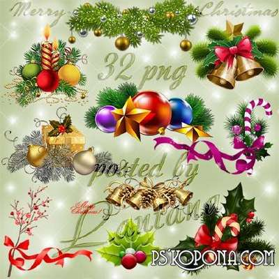 Christmas and New Year png  images - Christmas bells, balls, toys, gifts, candles, fir-tree branches in png