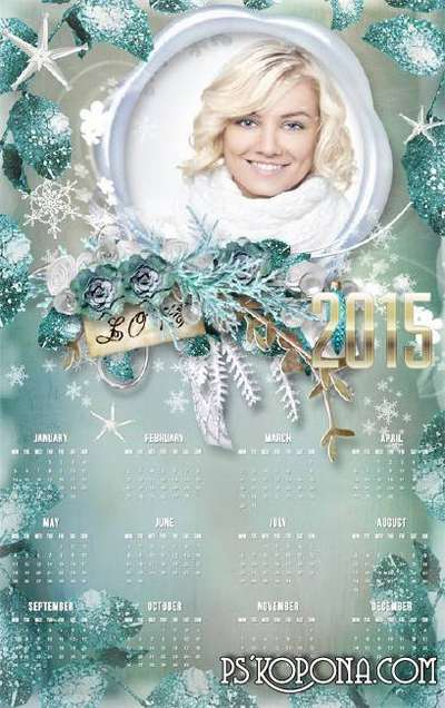 Calendar-frame for 2015 - Turquoise winter glow