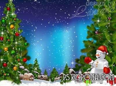Psd source - Walked straight through the snowdrifts cheerful snowman