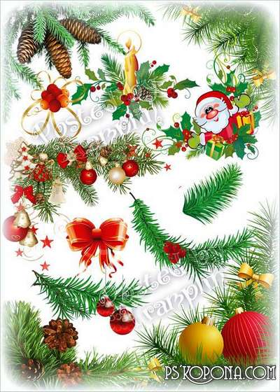 New Year clipart – Branches of needles and a toy