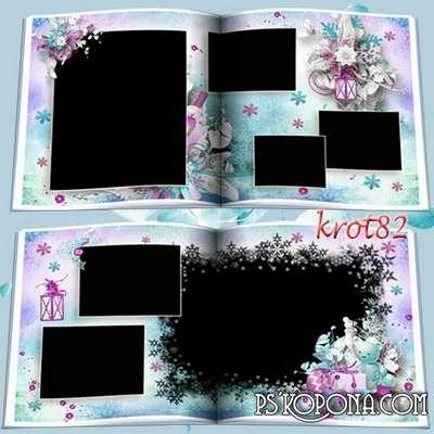 Baby photobook template psd - Snow swirls, snow falls