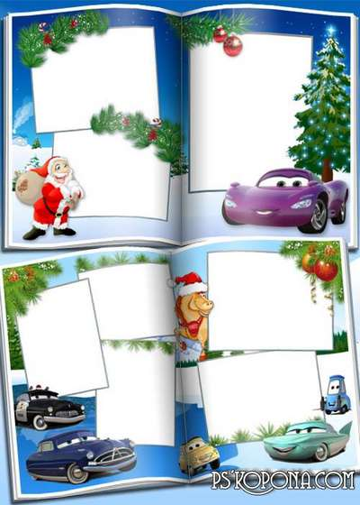 Children photobook template psd with cartoon characters Cars - Cristmas