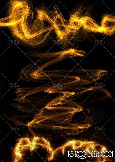 Flame png elements on a transparent background