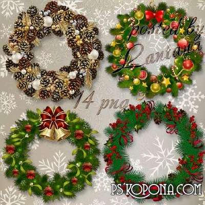 New Year and Christmas wreaths png