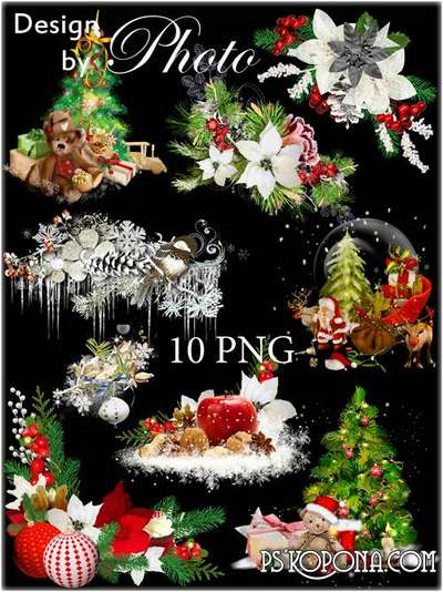 Christmas toys png , branches of the spruce, clusters, New year  png clipart on a transparent background