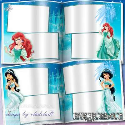 Cartoon Photobook template psd for girls - Disney Princesses and fairytale castle