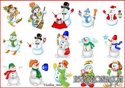 Snowmen Clipart png - Compilation of funny, bright, funny snowman - 15 PNG