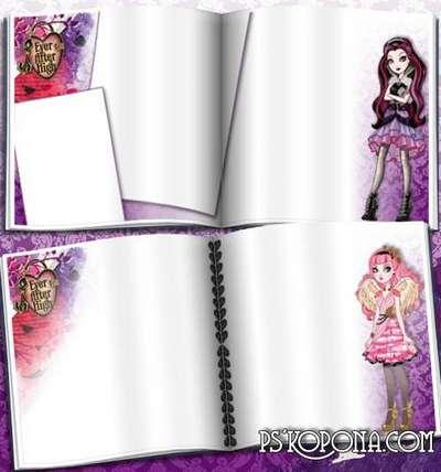 Cartoon Photobook template psd for girls - Ever After High