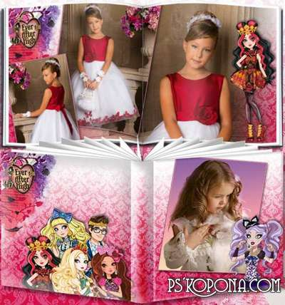 Cartoon Photobook template psd for girls - Ever After High