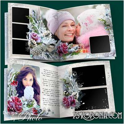 Family photo book template psd - Snowy winter