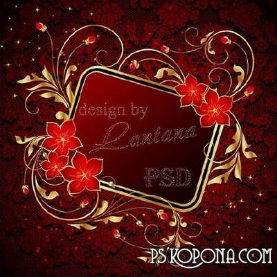 Psd source - Gold pattern on a red