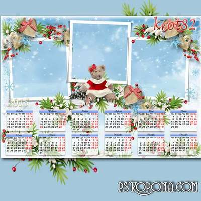 Wall calendar with cutouts for photos in 2015 with fir branches and hairy bear