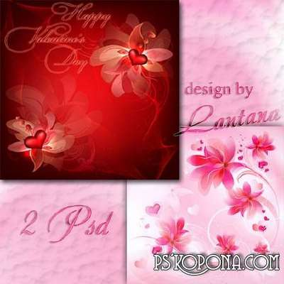 Multilayer backgrounds - Beautiful flowers of love