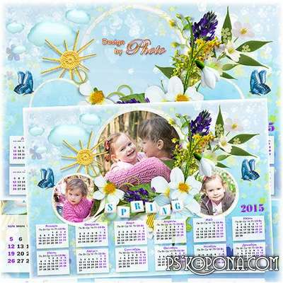 Calendar - frame for 2015 - Spring drops