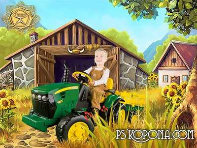 Children's template for Photoshop - The tractor