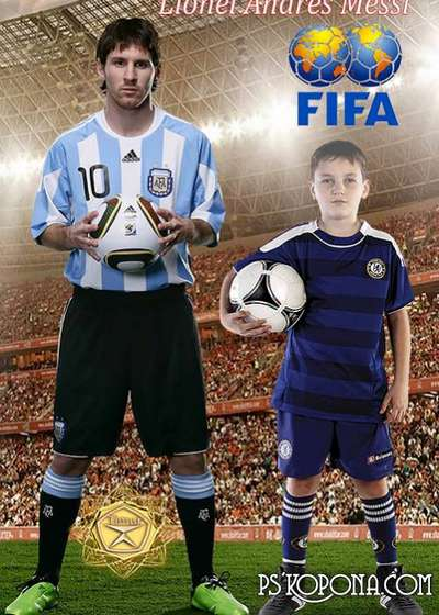 Children's template for photoshop - Photo football star