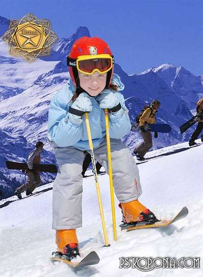 Children's template for photoshop - Ski suit for girls