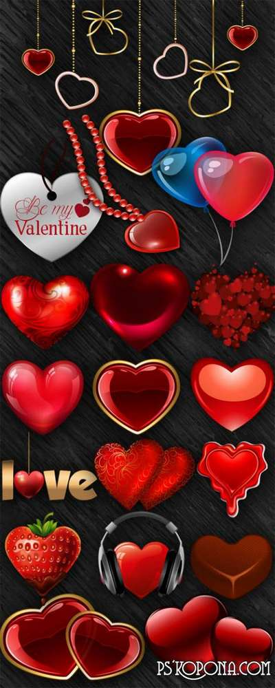 Romantic hearts png images on a transparent background