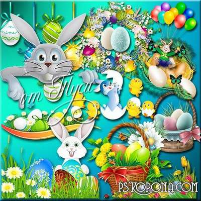 Clipart psd - Easter kits, hares, rabbits, Chicks, baskets, eggs, flowers