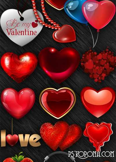 Romantic hearts png images on a transparent background - Free download
