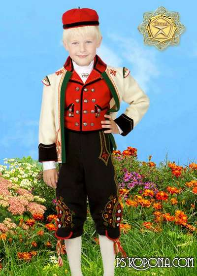 Children's template for photoshop - Norwegian national costume