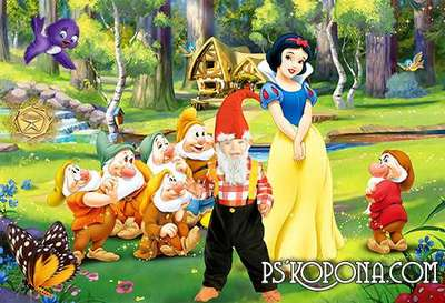 Children's template for Photoshop - Snow White and the Seven Dwarfs