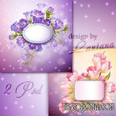 PSD source - Greeting card with campanula and tulips