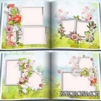 Photobook template psd - Floral fantasy