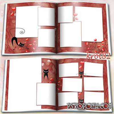 Photobook template psd for girls - There was a black cat