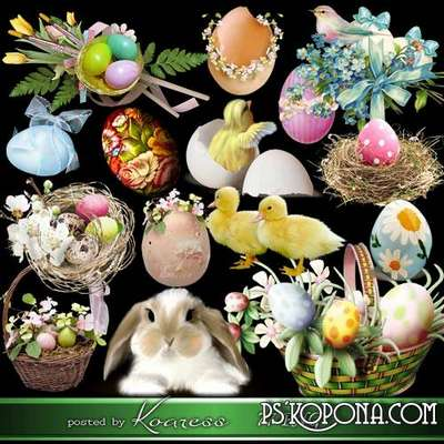 Easter eggs png, rabbits png, flowers png for design - png clipart for Photoshop