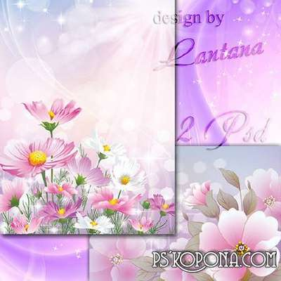 Multilayer backgrounds - Pink flowers in the haze of clouds