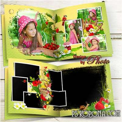 Summer photobook template psd for the whole family - Strawberry glade