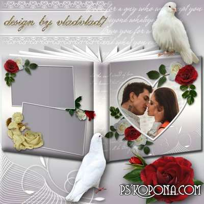 Romantic photo album template psd with white and red roses - Love