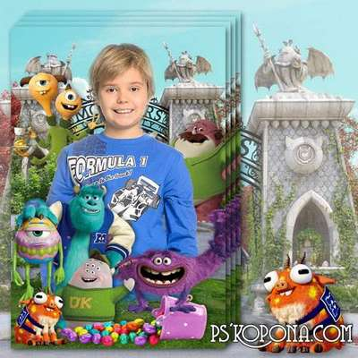 Children frame for portrait photo with cartoon characters Monsters University - Easter
