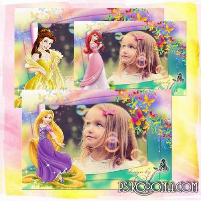 Child`s photo frame - Disney Princess: Rapunzel, Ariel, Belle