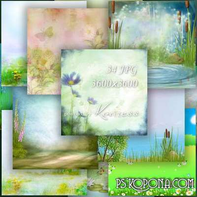 Jpg landscape backgrounds - forest, meadow and river