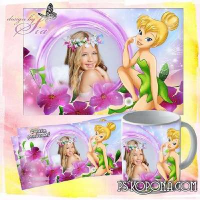 Child`s photo frame - Children frame for Photoshop for girls and Template for mugs - Tinker Bell