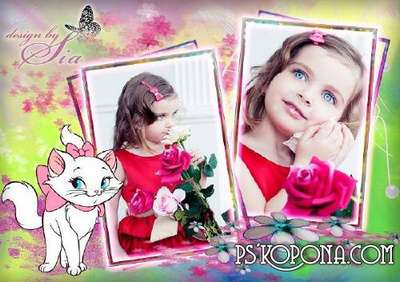 Children frame for Photoshop for girls - Pretty Pussy
