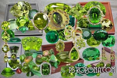 Free Clipart psd Chrysolites and emeralds, jewels free download