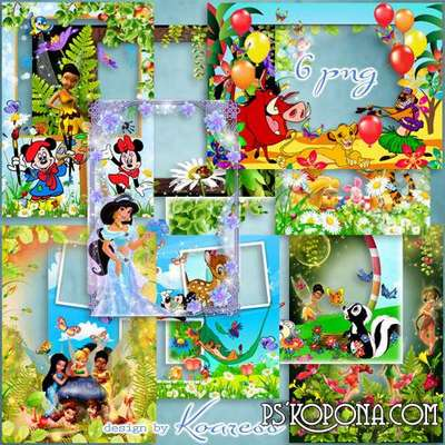 PNG Children photo frames - The world of kind Disney cartoons