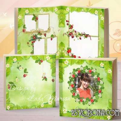 Photobook template psd for family photos in psd + font - Strawberry happiness