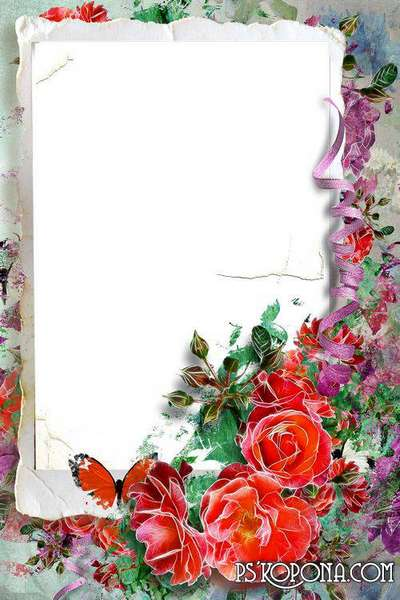 Beautiful frame with flowers for your photo - my favourite red roses ...